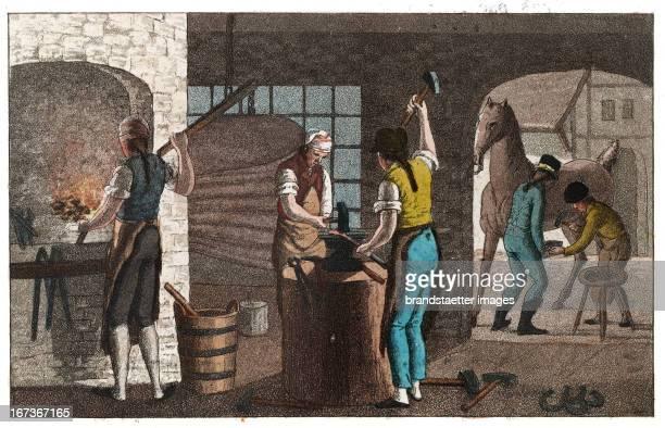 Blacksmith From Gallerie der vorzüglichsten Künste Zürich Leipzig Colored Lithograph 1820 Berufe Grob und Hufschmied Aus Gallerie der vorzüglichsten...