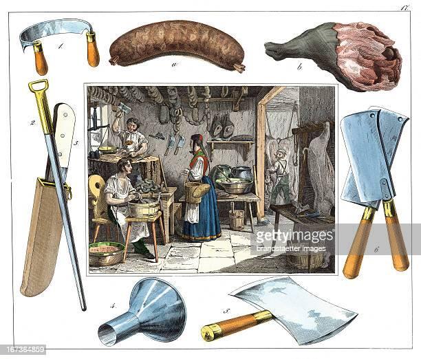 Butcher From 30 Werkstaetten von Handwerkern Schreiber Eßlingen Colored Lithograph About 1860 Berufe Fleischer Aus 30 Werkstätten von Handwerkern...