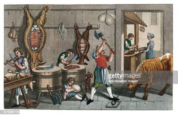 Butcher From Gallerie der vorzüglichsten Künste Zürich Leipzig Colored Lithograph 1820 Berufe Fleischer Aus Gallerie der vorzüglichsten Künste Zürich...