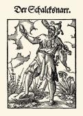 Professions Jester Etching by Jost Amman From Hans Sachs und Jost Amman Eygentliche Beschreibung aller Staende auff Erden Frankfurt am Main 1568...