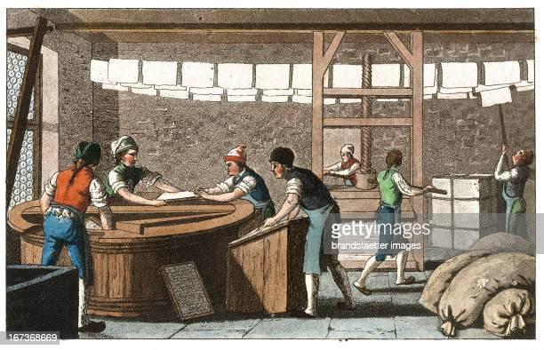 Papermaker From Gallerie der vorzüglichsten Künste Zürich Leipzig Colored Lithograph 1820 Berufe Papiermacher Aus Gallerie der vorzüglichsten Künste...