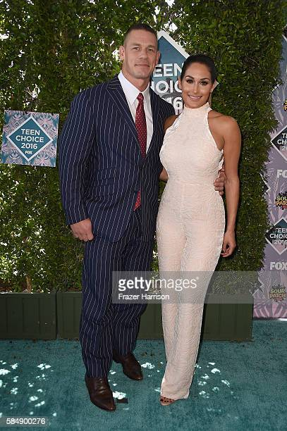 Professoinal wrestlers John Cena and Nikki Bella attend the Teen Choice Awards 2016 at The Forum on July 31 2016 in Inglewood California