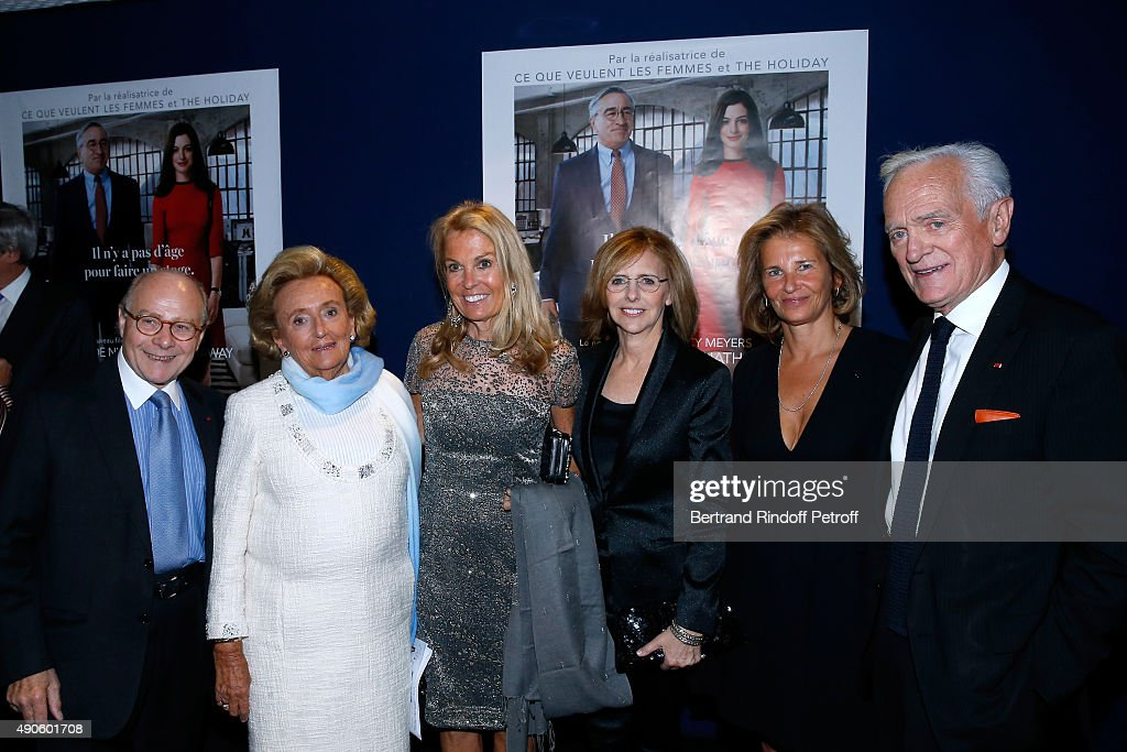 Professor Alain Pompidou, President of the 'Claude Pompidou Foundation' <a gi-track='captionPersonalityLinkClicked' href=/galleries/search?phrase=Bernadette+Chirac&family=editorial&specificpeople=206432 ng-click='$event.stopPropagation()'>Bernadette Chirac</a>, Ambassador of USA in France, <a gi-track='captionPersonalityLinkClicked' href=/galleries/search?phrase=Jane+D.+Hartley&family=editorial&specificpeople=13755383 ng-click='$event.stopPropagation()'>Jane D. Hartley</a>, Director of the movie <a gi-track='captionPersonalityLinkClicked' href=/galleries/search?phrase=Nancy+Meyers&family=editorial&specificpeople=240098 ng-click='$event.stopPropagation()'>Nancy Meyers</a>, CEO Warner France Iris Knobloch and Philippe Labro attend the 'Le nouveau Stagiare' (The Intern) movie Premiere to Benefit 'Claude Pompidou Foundation', held at Cinema 'UGC Normandie' on September 29, 2015 in Paris, France. Screenng followed by a Dinner