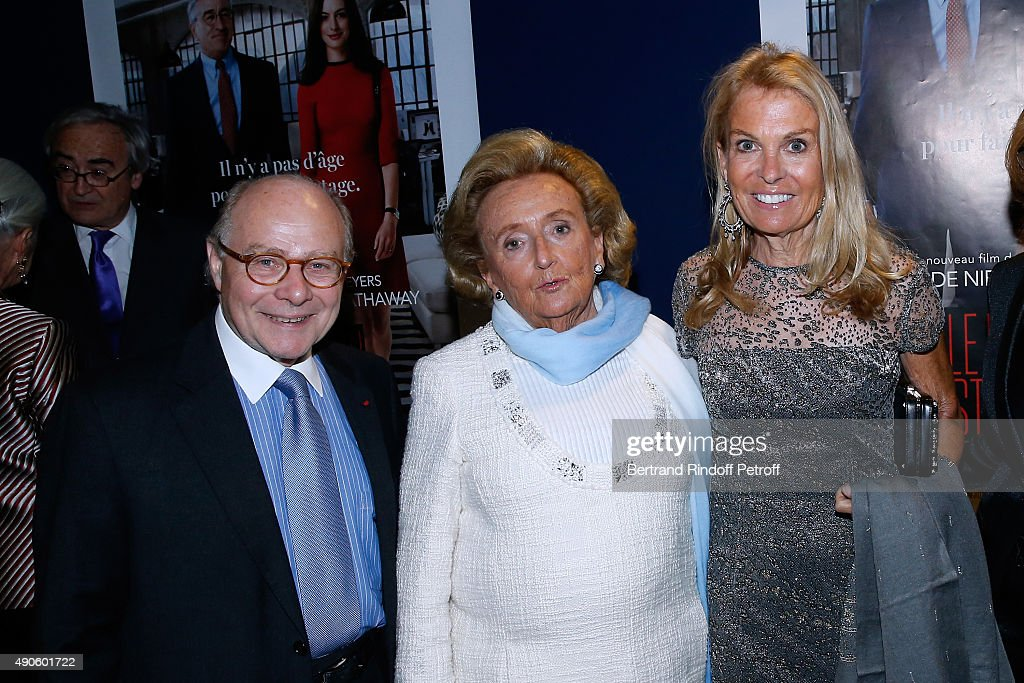 Professor Alain Pompidou, President of the 'Claude Pompidou Foundation' <a gi-track='captionPersonalityLinkClicked' href=/galleries/search?phrase=Bernadette+Chirac&family=editorial&specificpeople=206432 ng-click='$event.stopPropagation()'>Bernadette Chirac</a> and Ambassador of USA in France, <a gi-track='captionPersonalityLinkClicked' href=/galleries/search?phrase=Jane+D.+Hartley&family=editorial&specificpeople=13755383 ng-click='$event.stopPropagation()'>Jane D. Hartley</a> attend the 'Le nouveau Stagiare' (The Intern) movie Premiere to Benefit 'Claude Pompidou Foundation', held at Cinema 'UGC Normandie' on September 29, 2015 in Paris, France. Screenng followed by a Dinner