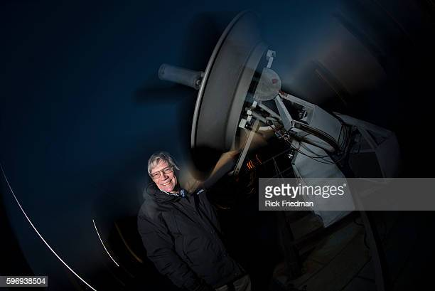 Professor Alan Guth PhD of the MIT Physics Department with a radio telescope on the roof at MIT on March 14 2014 Professor Guth was one of the...