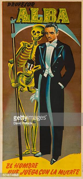 Professor Alba the Man who dances with the dead A dapper magician stands with a scythe holding skeleton ca 1950s