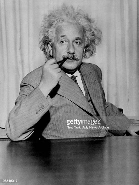Professor Albert Einstein at his desk on his first day in his new office at Princeton University