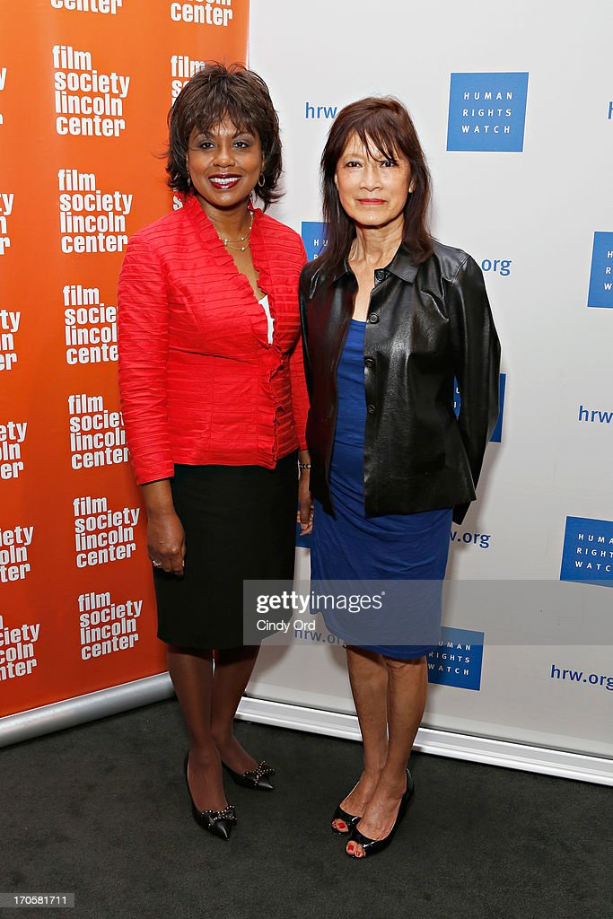 Professor <a gi-track='captionPersonalityLinkClicked' href=/galleries/search?phrase=Anita+Hill&family=editorial&specificpeople=655733 ng-click='$event.stopPropagation()'>Anita Hill</a> and filmmaker Freida Mock attend the 'Anita' Premiere during the 2013 Human Rights Watch Film Festival at The Film Society of Lincoln Center, Walter Reade Theatre on June 14, 2013 in New York City.
