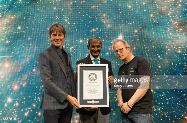 Professor Brian Cox Pravin Patel and Robin Ince at his Guinness World Record breaking live tour show Professor Brian Cox Live at SSE Arena Wembley on...