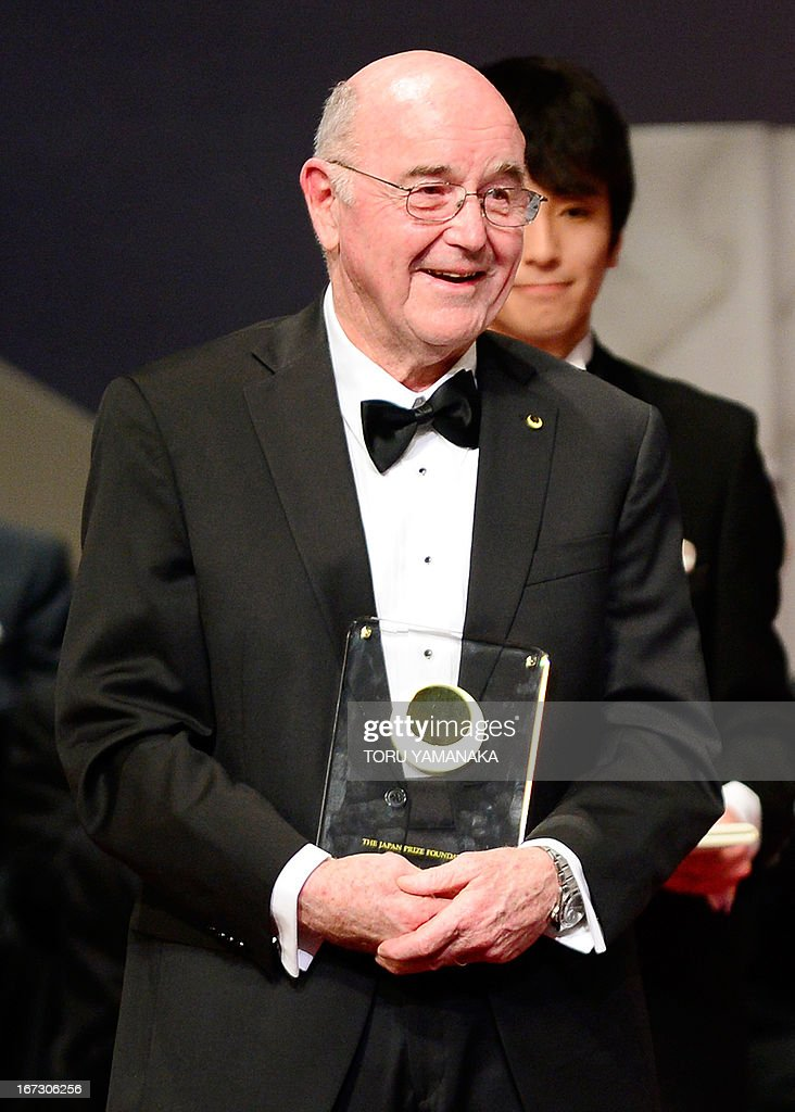 Professor C. Grant Wilson of the US holds his trophy during the awards ceremony for the Japan Prize in Tokyo on April 24, 2013. Willson and his compatriot, Professor Jean M. J. Frechet, were jointly awarded the prize in the materials and production field to develop chemically amplified resistant polymer materials for the innovative semiconductor manufacturing process. The Japan Prize is awarded annually to scientists and engineers from around the world who have made significant contributions to the advancement of science and technology, furthering the cause of peace and prosperity. AFP PHOTO/Toru YAMANAKA