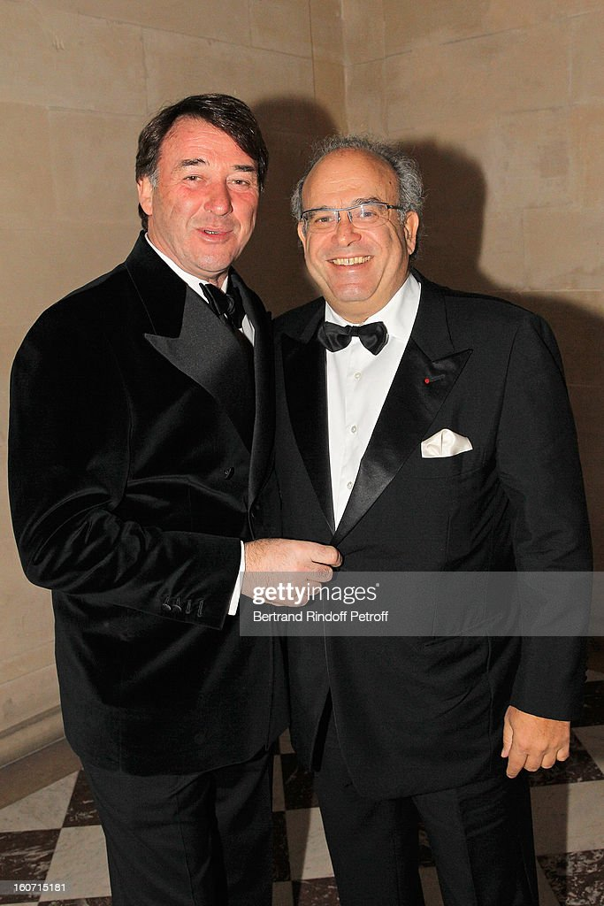 Professor David Khayat (R) and chef Jean-Pierre Vigato attend the gala dinner of Khayat's association 'AVEC', at Chateau de Versailles on February 4, 2013 in Versailles, France.