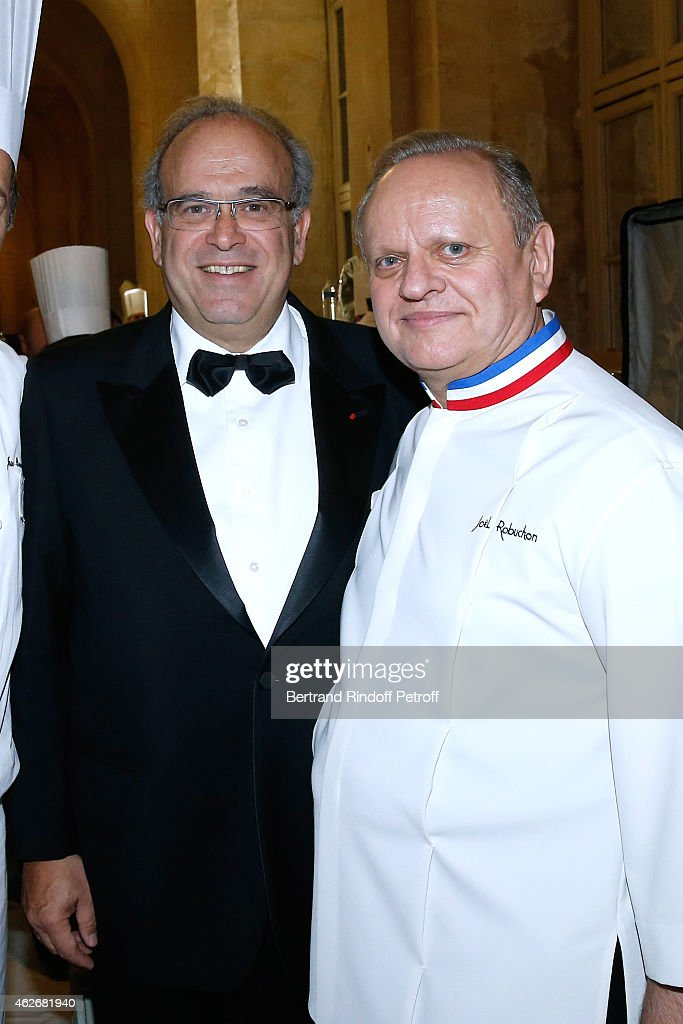 Professor David Khayat and Chef Joel Robuchon attend the David Khayat Association 'AVEC' Gala Dinner Held at Versailles Castle on February 2 2015 in...
