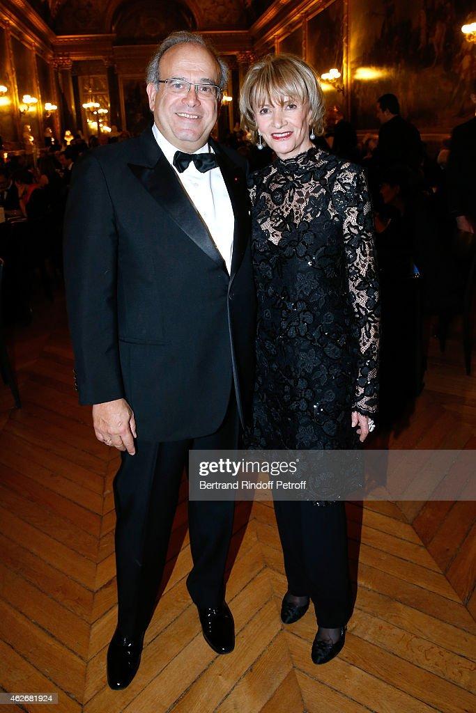 Professor David Khayat and Eve Ruggieri attend the David Khayat Association 'AVEC' Gala Dinner Held at Versailles Castle on February 2 2015 in...