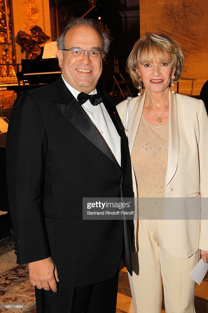 Professor David Khayat (L) and Eve Ruggieri attend the gala dinner of Khayat's association 'AVEC', at Chateau de Versailles on February 4, 2013 in Versailles, France.