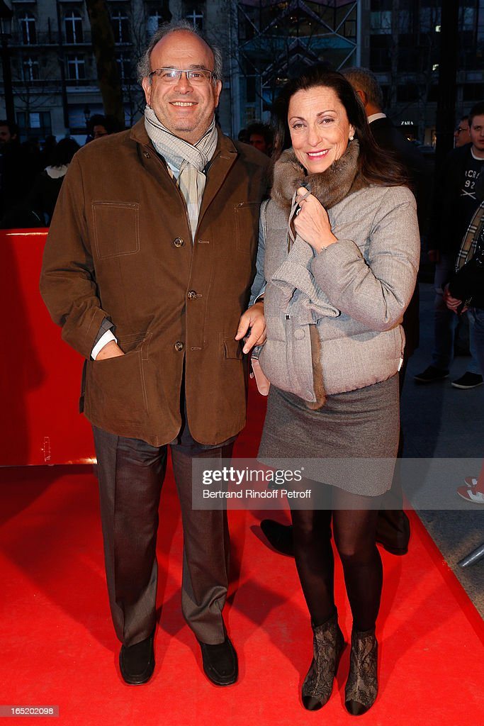 Professor David Khayat and wife Jocelyne attend 'Des gens qui s'embrassent' movie premiere at Cinema Gaumont Marignan on April 1 2013 in Paris France