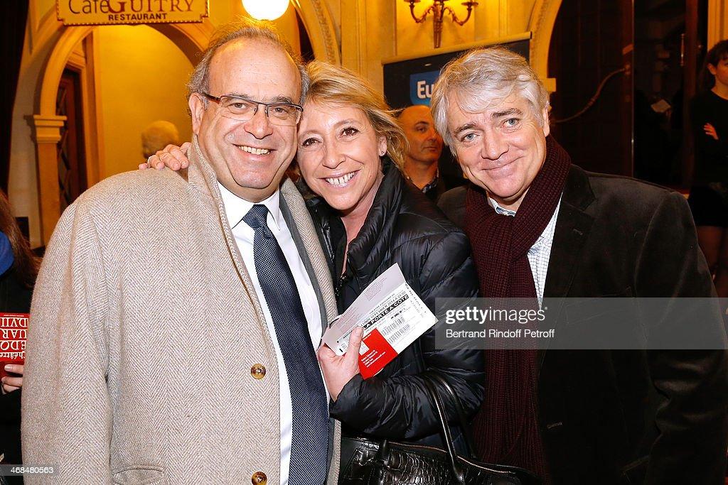 Professor David Khayat Manuela Isnard Seznec and her husband Bruno Seznec attend 'La Porte a Cote' Theater Play premiere Held at Theatre Edouard VII...