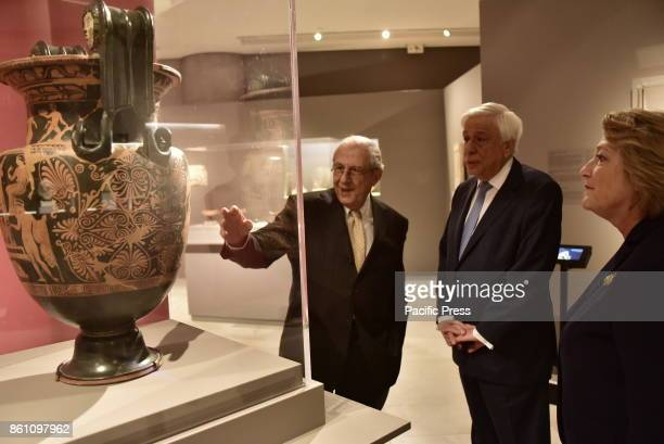 MUSEUM ATHENS ATTIKI GREECE Professor Dimitrios Pantermalis is presenting the exhibit to the President of Hellenic Republic Prokopis Pavlopoulos and...