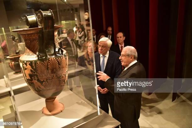 MUSEUM ATHENS ATTIKI GREECE Professor Dimitrios Pantermalis is presenting the exhibit to the President of Hellenic Republic Prokopis Pavlopoulos in...