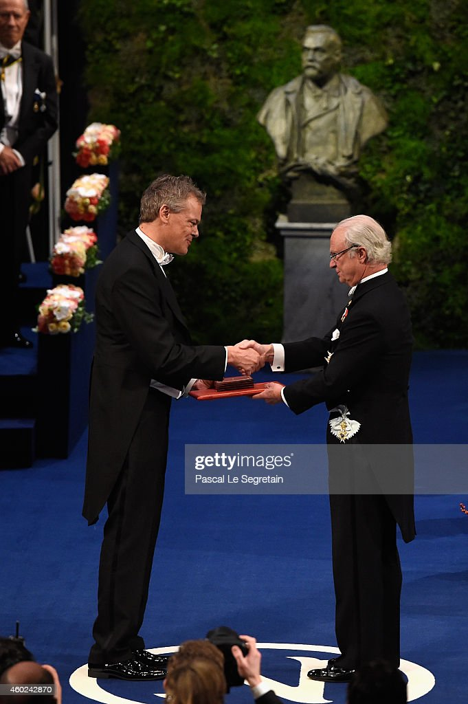 Professor Edvard I. Moser, laureate of the Nobel Prize in Physiology or Medicine receives his Nobel Prize from King Carl XVI Gustaf of Sweden during the Nobel Prize Awards Ceremony at Concert Hall on December 10, 2014 in Stockholm, Sweden.
