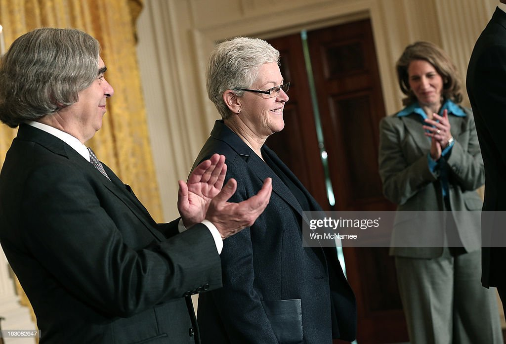 MIT professor Ernest Moniz (L) , nominated as Energy Secretary, and Sylvia Mathews Burwell (R), the President of the Walmart Foundation nominated as budget director, applaud as U.S. President Barack Obama announces Gina McCarthy (C), as his nominee to head the Environmental Protection Agency during a ceremony in the East Room of the White House March 4, 2013 in Washington, DC. The nominations will be key appointments for Obama's second term while focusing on the issues of the national budget as well as energy and climate issues.