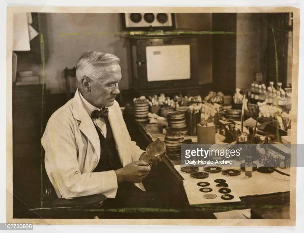 Professor Fleming working in his laboratory 1943 A photograph of Professor Alexander Fleming [18811955] working in his laboratory taken by James...