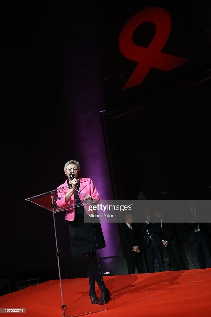 Professor Francoise Barre Sinoussi, Nobel Price of medecine 2008, attends the AIDES International Gala Dinner at Grand Palais on November 27, 2012 in Paris, France.
