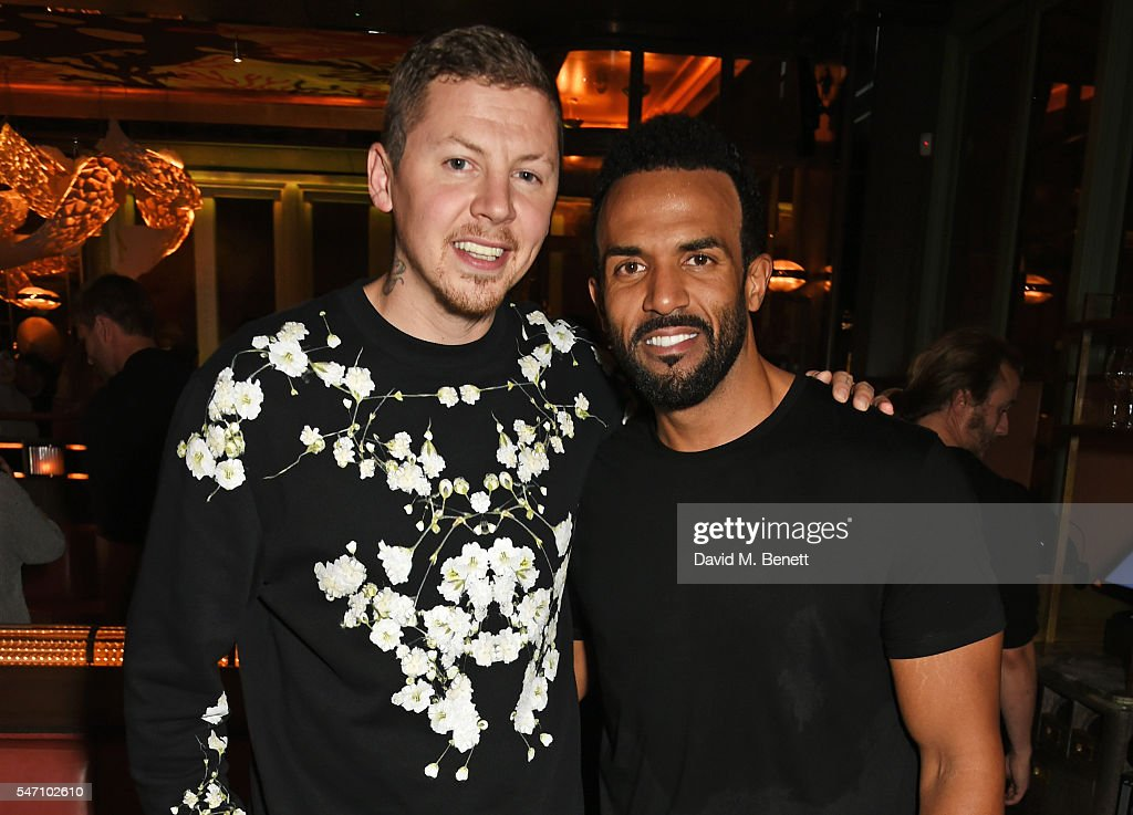 Professor Green (L) and Craig David attend the Sony Music UK Summer Party at Sexy Fish on July 13, 2016 in London, England.