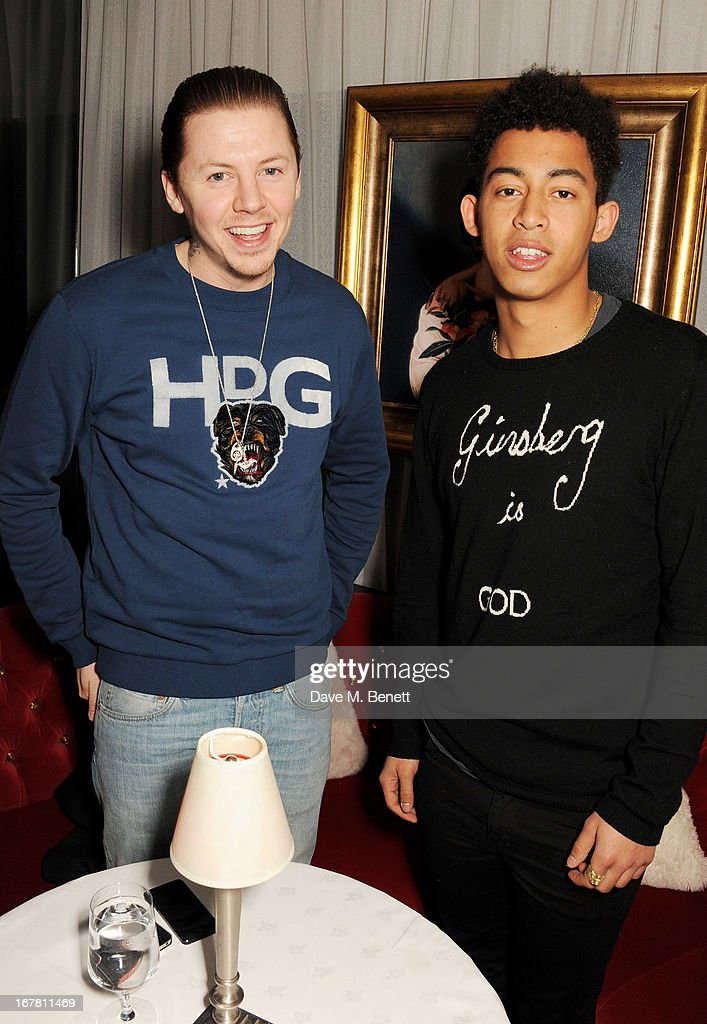 <a gi-track='captionPersonalityLinkClicked' href=/galleries/search?phrase=Professor+Green&family=editorial&specificpeople=6919860 ng-click='$event.stopPropagation()'>Professor Green</a> (L) and Jordan 'Rizzle' Stephens attend the launch of Baroque's new cabaret show at the Mayfair nightspot Baroque, at Playboy Club London on April 30, 2013 in London, England.