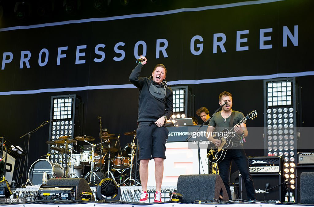 Professor Green performs live on the Pyramid Stage at day 2 of the 2013 Glastonbury Festival at Worthy Farm on June 28, 2013 in Glastonbury, England.