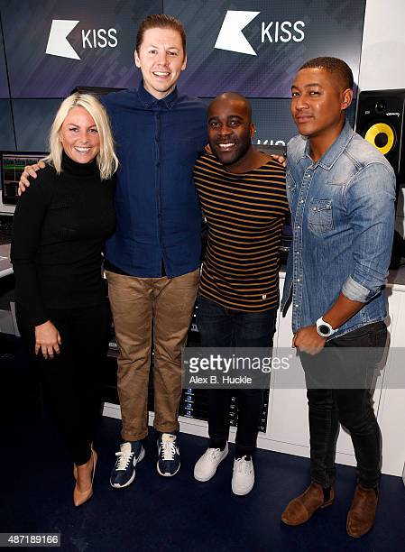 Professor Green poses for pictures with Charlie Hedges Melvin Odoom and Rickie Haywood Williams during a visit to Kiss FM on September 7 2015 in...