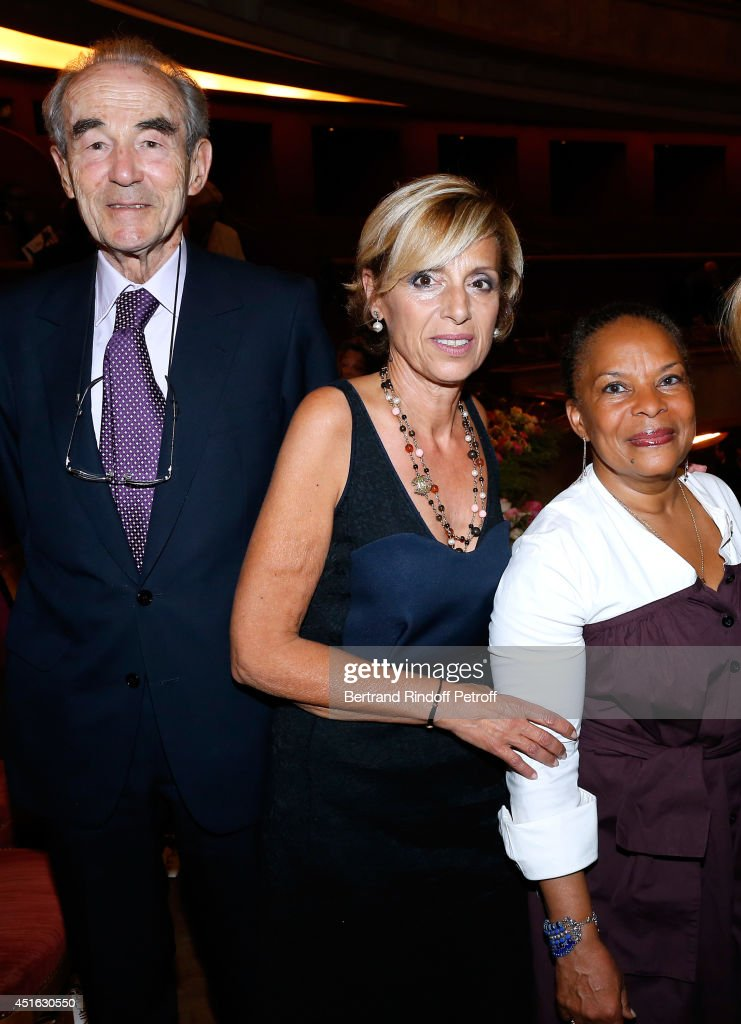 Professor Christian Cabrol, President of Amnesty International France Genevieve Garrigos and French Justice Minister <a gi-track='captionPersonalityLinkClicked' href=/galleries/search?phrase=Christiane+Taubira&family=editorial&specificpeople=3798541 ng-click='$event.stopPropagation()'>Christiane Taubira</a> attend the '20th Amnesty International France' : Gala 'Music against oblivion'. Held at Theatre des Champs-Elysees on July 2, 2014 in Paris, France.