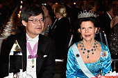 Professor Hiroshi Amano and Queen Silvia of Sweden attend the Nobel Prize Banquet 2014 at City Hall on December 10 2014 in Stockholm Sweden