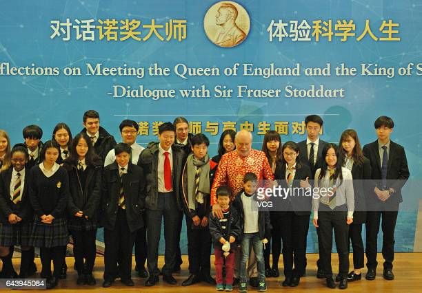 Professor J Fraser Stoddart laureate of the Nobel Prize in Chemistry poses with students during his speech 'Dialogue with Fraser Stoddart' at Tianjin...