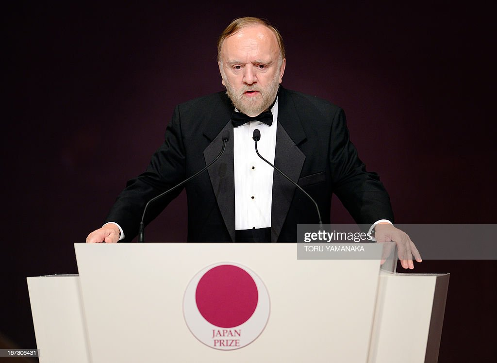 Professor Jean M. J. Frechet of the US makes a speech during the awards ceremony for the Japan Prize in Tokyo on April 24, 2013. Frechet and his compatriot, Professor C. Grant Wilson, were jointly awarded the prize in the materials and production field to develop chemically amplified resistant polymer materials for the innovative semiconductor manufacturing process. The Japan Prize is awarded annually to scientists and engineers from around the world who have made significant contributions to the advancement of science and technology, furthering the cause of peace and prosperity. AFP PHOTO/Toru YAMANAKA