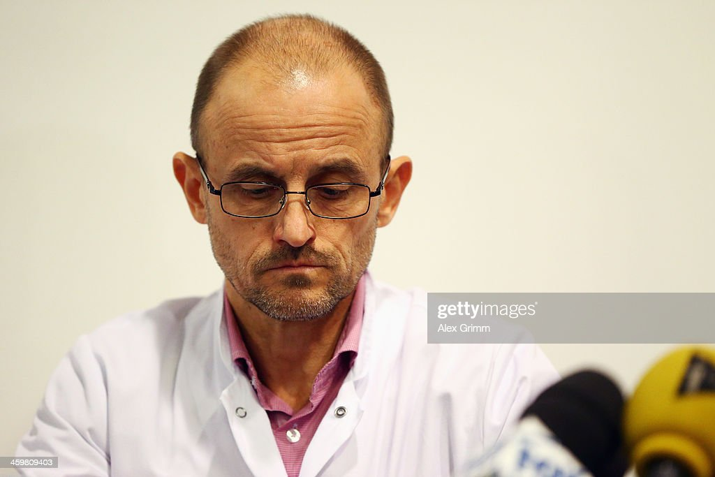 Professor Jean-Francois Payen looks on during a press conference at Grenoble University Hospital Centre on Michael Schumacher's medical state following his skiing accident on Sunday in Meribel on December 31, 2013 in Grenoble, France.