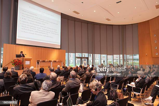 Professor Jeremy Sarkin speaks at the International Commission on Missing Persons on day 4 in the Peace Palace on November 1 2013 in The Hague...