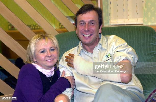 Professor Kevin Warwick with his wife Irena at Oxfords Radcliffe Infirmary after his operation to place a mirochip in his arm Surgeons have carried...