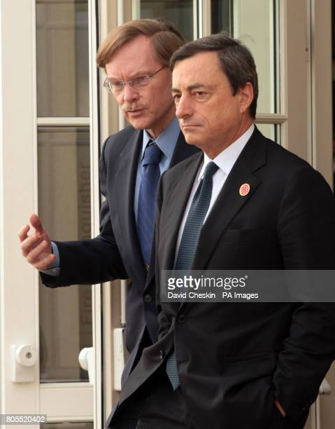 Professor Mario Draghi chairman of the Financial Stability Forum from Italy and Bob Zoellick from the World Bank walk together at the Fairmont Hotel...