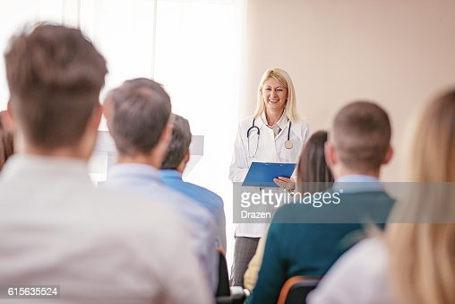 Professor of medicine science with students