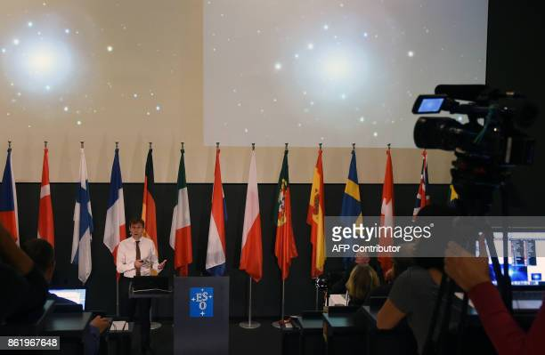 Professor of Physics Stephen Smartt speaks during a presentation at the ESO German headquarters in Garching near Munich southern Germany on October...