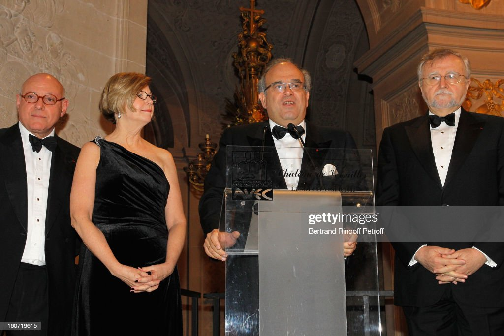 Professor Peter Harper, Sandra Swain, President of the American Society of Clinical Oncology (Asco), Professor <a gi-track='captionPersonalityLinkClicked' href=/galleries/search?phrase=David+Khayat&family=editorial&specificpeople=3090278 ng-click='$event.stopPropagation()'>David Khayat</a> and Professor Gabriel Hortobagyi attend the gala dinner of Professor <a gi-track='captionPersonalityLinkClicked' href=/galleries/search?phrase=David+Khayat&family=editorial&specificpeople=3090278 ng-click='$event.stopPropagation()'>David Khayat</a>'s association 'AVEC', at Chateau de Versailles on February 4, 2013 in Versailles, France.
