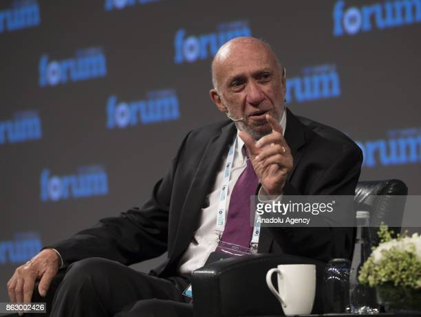 Professor Richard Anderson Falk Emeritus of International Law at Princeton University makes a speech during the 'Humanitarian Aid' panel within TRT...