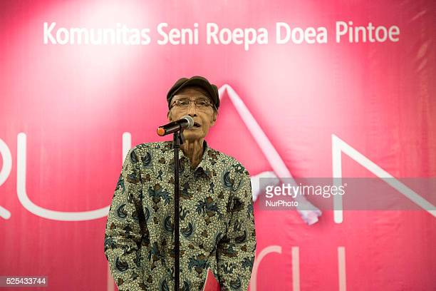 Professor Sapardi an Indonesian art observer giving his exhibition opening speech Indonesia National Gallery at Jakarta held an exhibition called...