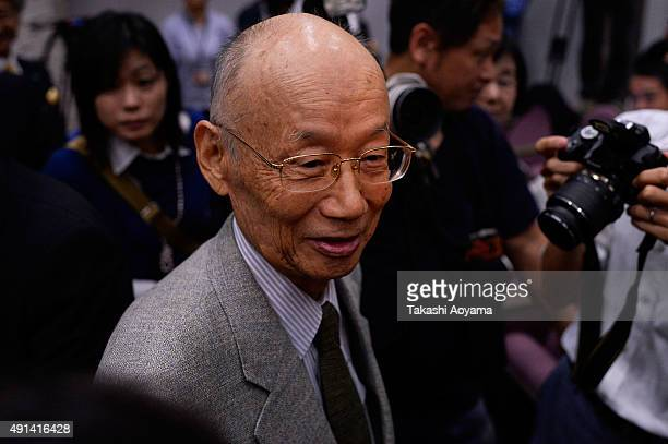 Professor Satoshi Omura speaks after a press conference on October 5 2015 in Tokyo Japan The Nobel committee announced on October 5 2015 that William...