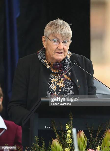 Professor Sharon Sullivan speaks during the 20th anniversary commemoration service of the Port Arthur massacre on April 28 2016 in Port Arthur...