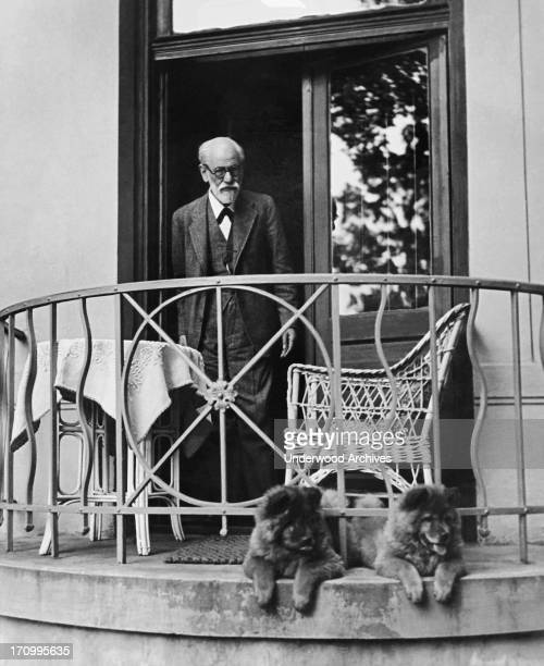 Professor Sigmund Freud at his home with his dogs in Vienna on his 80th birthday Vienna Austria 1936