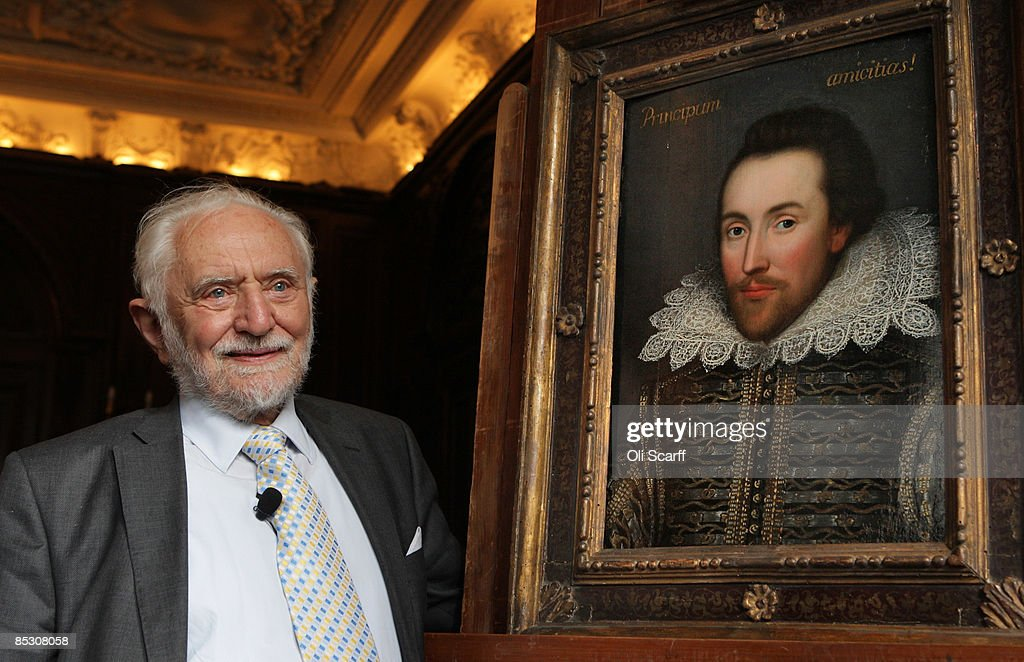 Professor Stanley Wells, the chairman of The Shakespeare Birthplace Trust, unveils a painting of William Shakespeare which he believes to be the only authentic image of Shakespeare made during his life on March 9, 2009 in London, England. The recently discovered painting, which is believed to date from around 1610, depicts Shakespeare in his mid-forties. The portrait is due to go on display at The Shakespeare Birthplace Trust in Stratford-upon-Avon on April 23, 2009.
