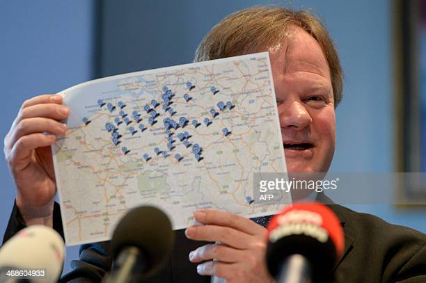 Professor Stefaan Van Gool of UZ Leuven university shows a map during a press conference of various pediatricians on the expansion of the euthanasia...