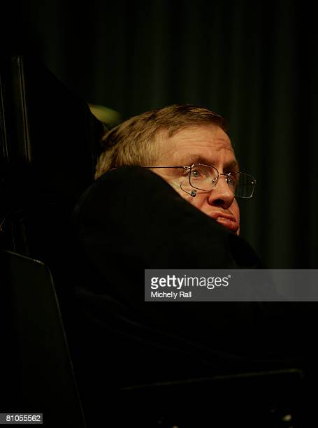 Professor Stephen Hawking attends the lecture 'Universe' in Muizenberg at the African Institute for Mathematical Sciences on May 11 2008 in Cape Town...