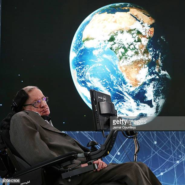Professor Stephen Hawking attends the New Space Exploration Initiative 'Breakthrough Starshot' Announcement at One World Observatory on April 12 2016...